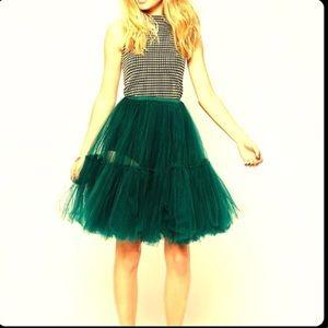 Petticoat, tulle, skirt, ruffles, mesh, emerald